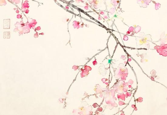 桃の花 小径をゆけばとおせんぼ幼子の手には少し届かず