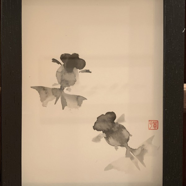 新倉章子 金魚(黒×黒)