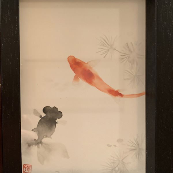 新倉章子 金魚(黒×赤)