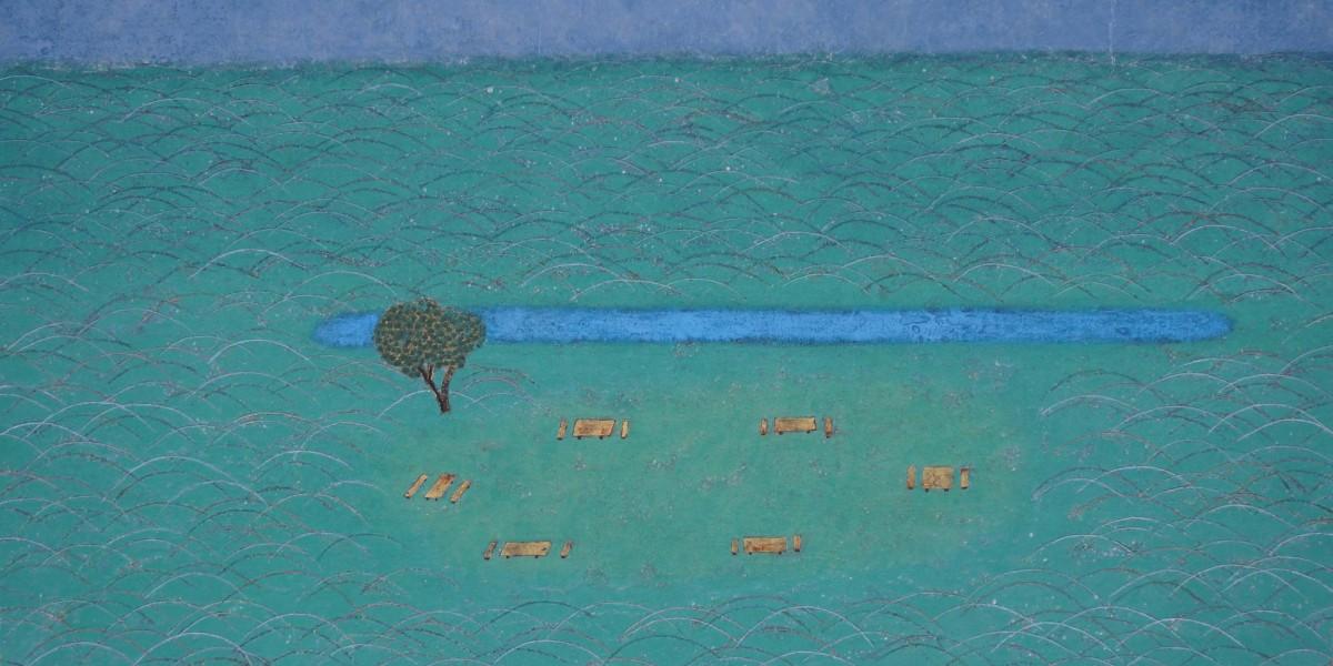久野隆史  「池とベンチ」 12号M